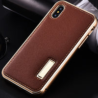 Premier Aluminum Metal Genuine Leather Case For Apple iPhone X