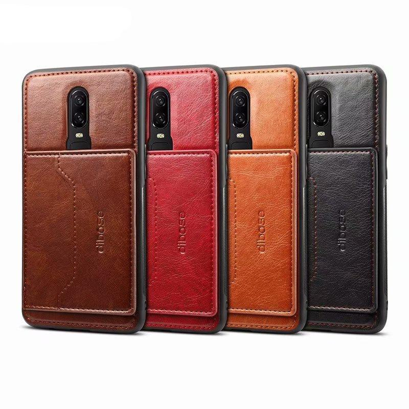 detailing 324ab 4a2c8 Leather Back Cover Case For Oneplus 6 6T 5T With Card Holder