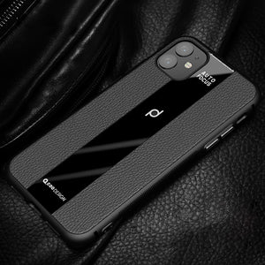 Splicing PU Soft Leather Skin Pattern Acrylic Glass Cover Case for iPhone X XS XR Max 11 Pro Max