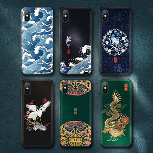 Traditional Auspicious Texture Cases For iPhone 8 7 6 6s Plus X Xs Max XR