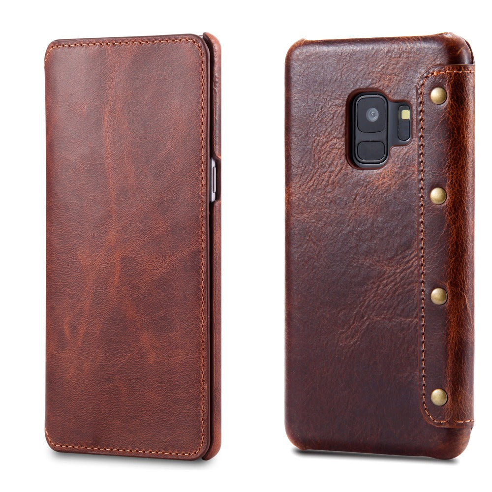 Galaxy S9 S9 Plus Vintage Style Genuine Leather Wallet Case With Card Slots