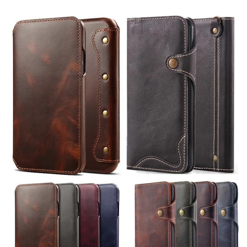bcc579369fc4ed Retro Handmade Luxury Genuine Leather Case for iphone X XS Max 8 8 Plus