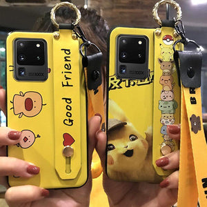 Cute Cartoon Soft Silicone Shockproof Waterproof Case with Wristband Lanyard For Samsung Galaxy S20 Series