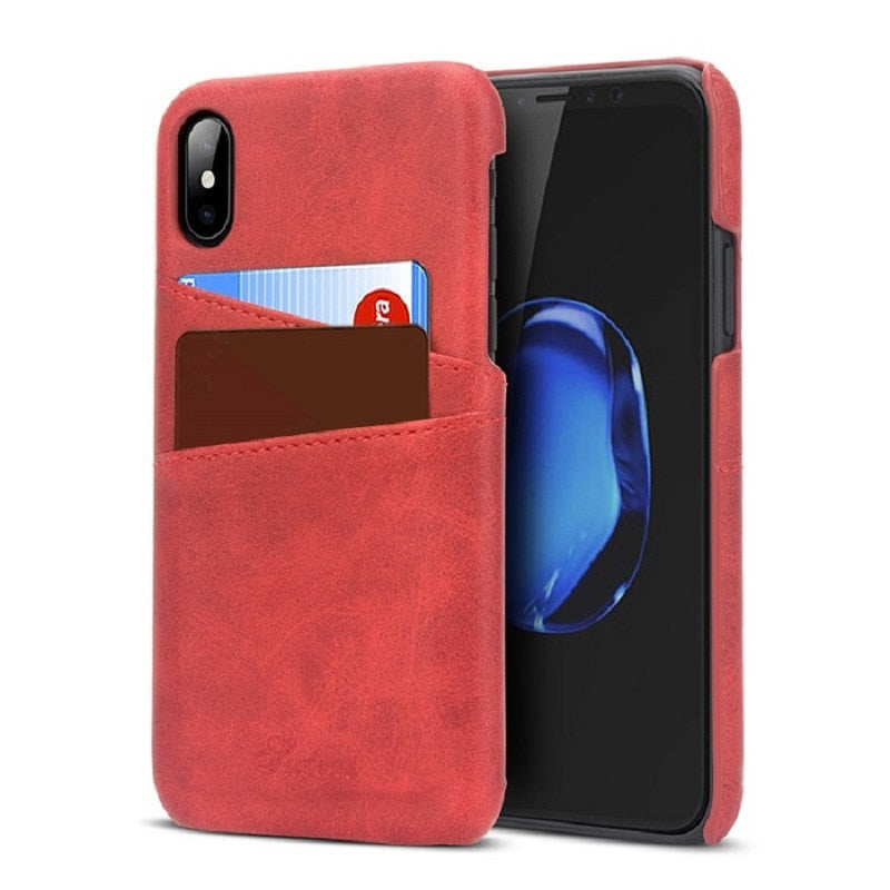 half off 3b367 e433b Slim Luxury PU Leather For iPhone XS MAX XR Case Back Cover Protective Card  Holder