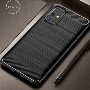 Soft Silicone TPU Bumper Carbon Fiber Heavy Duty Protection Case For Samsung Galaxy S20 Plus S20 Ultra
