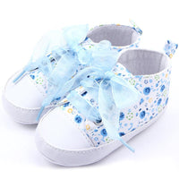 Soft Sole Anti-slip Girls Floral Walk Crib Shoes 0-18 M