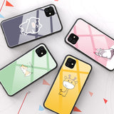 Cute Cartoon Animal Tempered Glass Case For iPhone 11 Pro iPhone 11 Pro Max