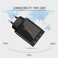 Universal Quick Charge 30W Adapter USB EU US Charger for iPhone Samsung Huawei