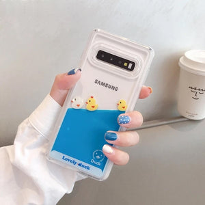 Lovely Duck Liquid Phone Case For Samsung Galaxy S10 Plus S10E S8 S9 Plus