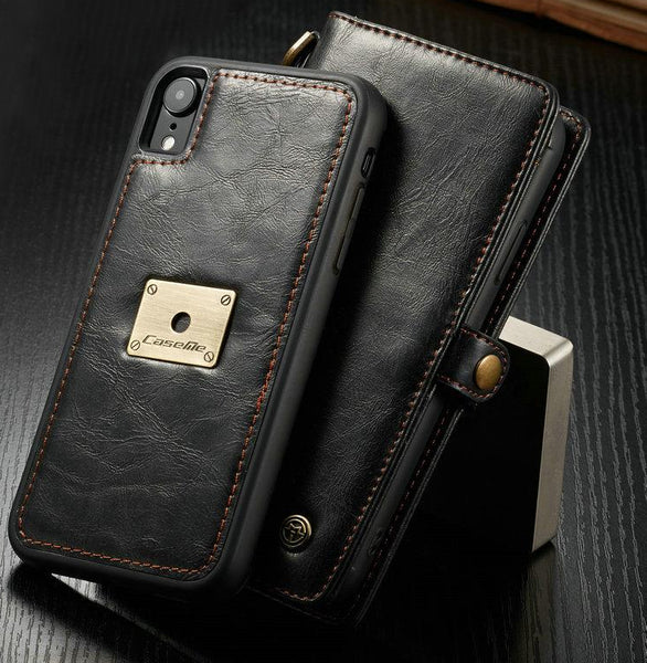 Wallet Case For iPhone XS XR XS Max with Wrist Strap Wireless Charging Magnetic 2 in 1