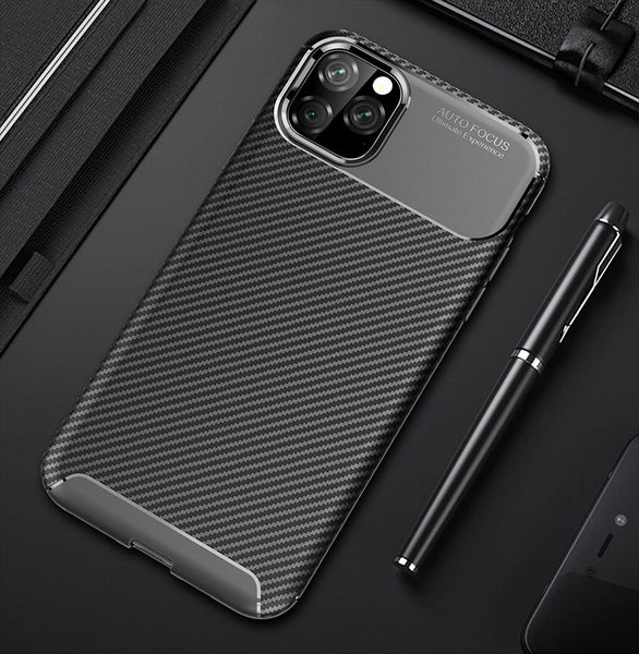 Carbon Fiber Texture Soft Silicone Shockproof Back Cover for iPhone 11 Pro 11 Pro Max