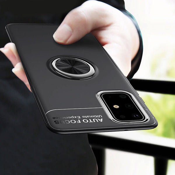 Shockproof Silicone with Metal Finger Ring Holder Case for Samsung Galaxy S20 S10 Note10 Series