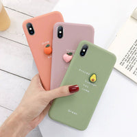 Luxury 3D Candy Color Avocado Letter Soft Silicone Case For iPhone 11 Pro Max