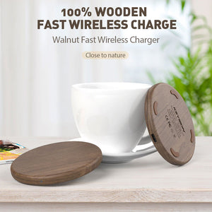 Wooden 10W Fast Wireless Charger for iPhone 11 XS Max Samsung S10 S9 Xiaomi Mi 9