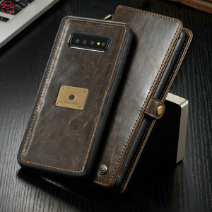 Case For Samsung Galaxy S10 S10 Plus S10e Retro Genuine Leather Magnetic Removeable Wallet