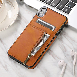 Zipper Leather Wallet Case For iPhone X XS XR XS Max 6 6s plus 7 8 Plus