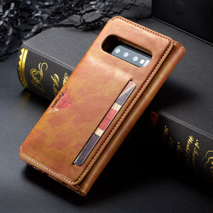 Wallet Flip Leather 5 Card Slots Photo Frame Case For Galaxy S10 S10 Plus S10e