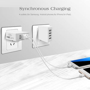 Mobile Phone 4 USB Fast Charging for iPhone Samsung LG G6 Max 2.4A