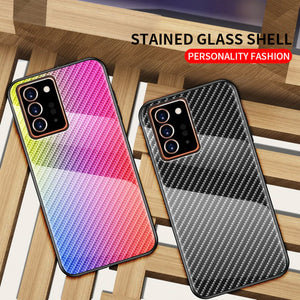 Tempered Glass Back Cover Silicone Soft Edge Frame Ultra Slim Carbon Fiber Case For Samsung Galaxy Note 20 Series
