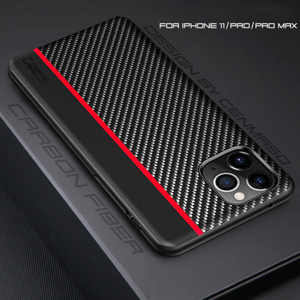 Original Carbon Fiber Leather Back Cover for iPhone 12 Pro Max 1