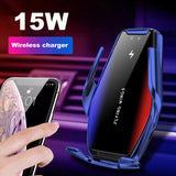 Automatic Clamping 15W Fast Car Wireless Charger for Samsung iPhone Infrared Sensor Phone Holder Mount