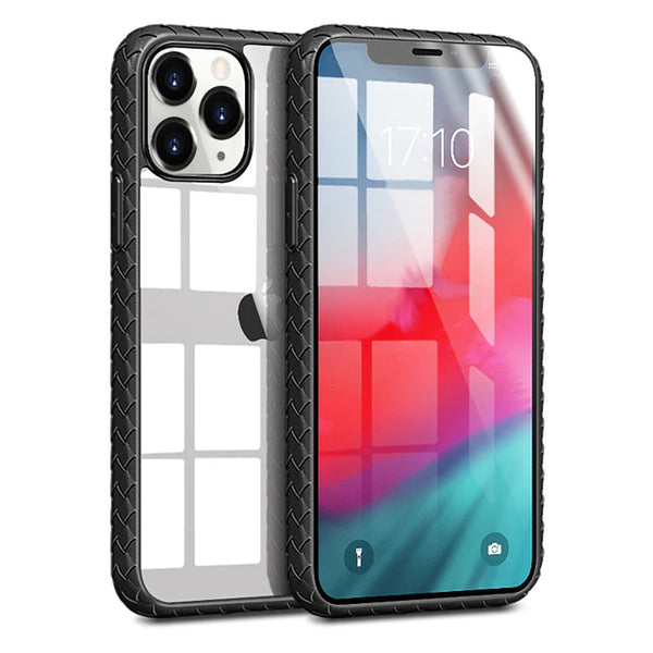 Soft Weave Silicone Frame Clear Acrylic Phone Case For iPhone 11 Series