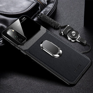 Hard Tempered Glass With Stand Ring Leather Case For Samsung Note 20 & S20 Series