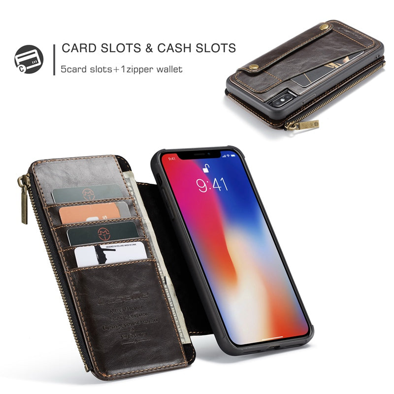 official photos 84459 2cbf3 Zipper Pocket Detachable Flip Case for iPhone X XS Max XR - The ...