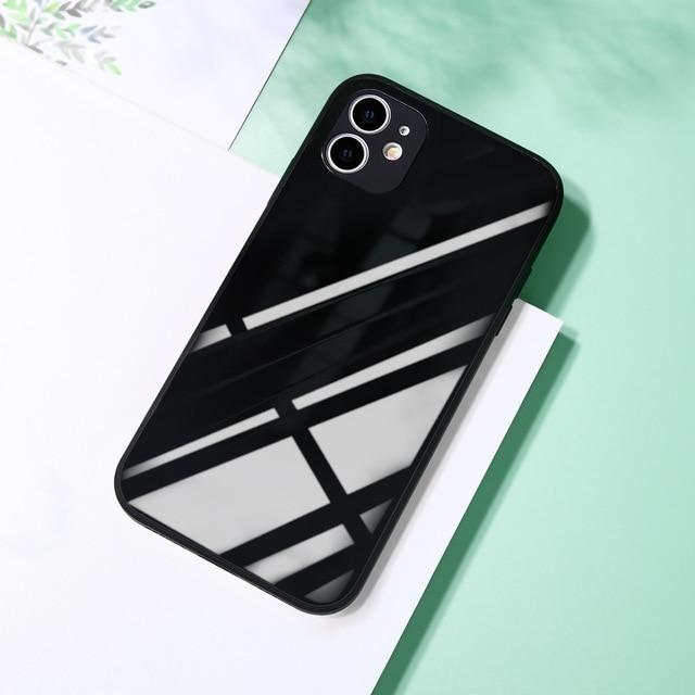 Square Tempered Glass Case Anti knock Baby Skin Frame Cover For iPhone 11 Series