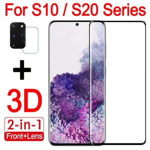 2in1 3D Cuvred Tempered Glass Screen Protector with Camera Lens Protector for Samsung S10/S20 Series