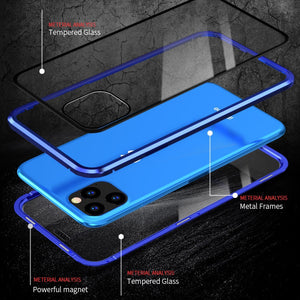 Transparent Tempered Glass Full Cover Magnetic Waterproof Flip Phone Case For iPhone 12 Series