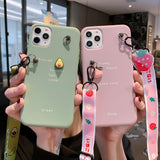 Cute cartoon Necklace Strap Case Heavy Duty Protection for iPhone 11 Series