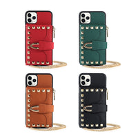 Luxury Rivet PU Leather Crossbody Wallet Case for iPhone 11 Series