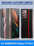 Original Carbon Fiber Texture Leather Back Cover Shockproof Phone Case for Samsung Galaxy Z Fold 2 6