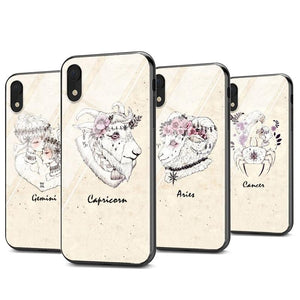 Black Super Bright Cover Zodiac Signs Constellation Gloss Phone Case for iPhone 11 Series