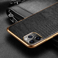 Luxury Genuine Leather Electroplate Frame Plating Case For iPhone 11 & 12 Series