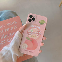 Japanese Drink Fruit Peach Soft Silicone Case For iPhone 11 Series