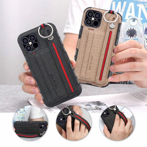 Fabric Cloth Case with Card Slot Wrist Strap Shockproof Anti fall Back Cover Case for iPhone 12 & 11 Series