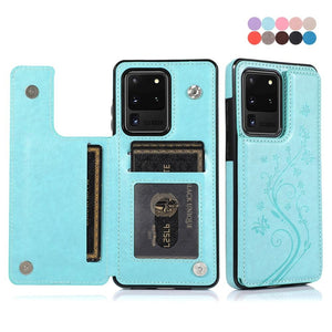 3D Flower Luxury PU Leather Shockproof Wallet Case For Samsung Galaxy S20