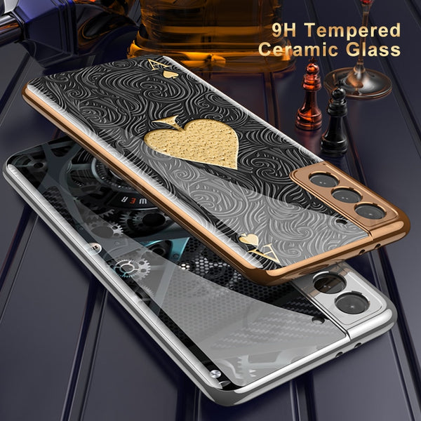 Luxury Plating Glass Anti knock Protection Hard Cover Case For Samsung S21 Ultra Plus 5G