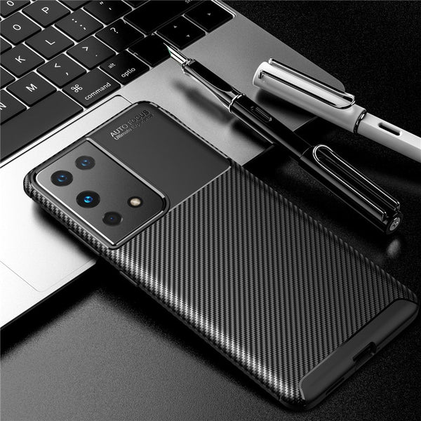 Soft Silicone Carbon Fiber Full Coverage Case For Samsung Galaxy Note 20 S20 S21 Series