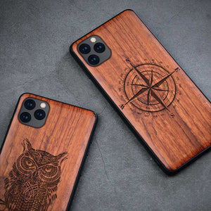 All-inclusive Emboss Solid Wood Carving Protective Cover Case For iPhone 12 Pro Max 3