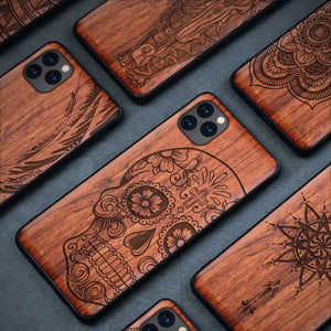 All-inclusive Emboss Solid Wood Carving Protective Cover Case For iPhone 12 Mini