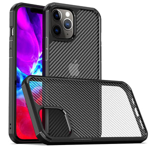 Clear Crystal Carbon Fiber Texture Durable Hybrid Soft TPU Bumper + Hard PC Back Cover Case for iPhone 12 Pro Max 5