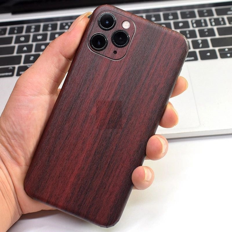 Luxury Carbon Fibre Back Protect Sticker Wood Grain Protective Film For iPhone 11 Series