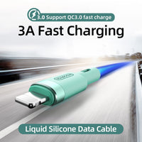 Liquid Silicone Fast Data Charging USB Cable For iPhone 12 11 Pro Max