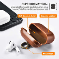 AirPod Genuine Leather Case with Keychain Wireless Charging