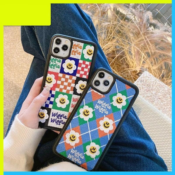 Cute Smiling Face Flowers Embroidery Personalized Phone Case for Iphone 12 11 Series