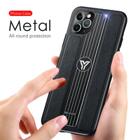 Camera Lens Protection Leather Metal Back Cover Case For Iphone 11 Pro Max  1