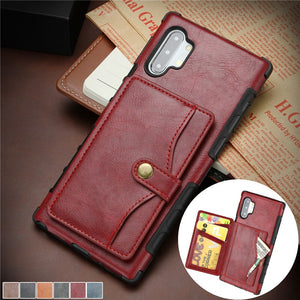 Leather Flip Wallet Back Cover for Samsung Galaxy S20 Series / Note 10 / S10 Series